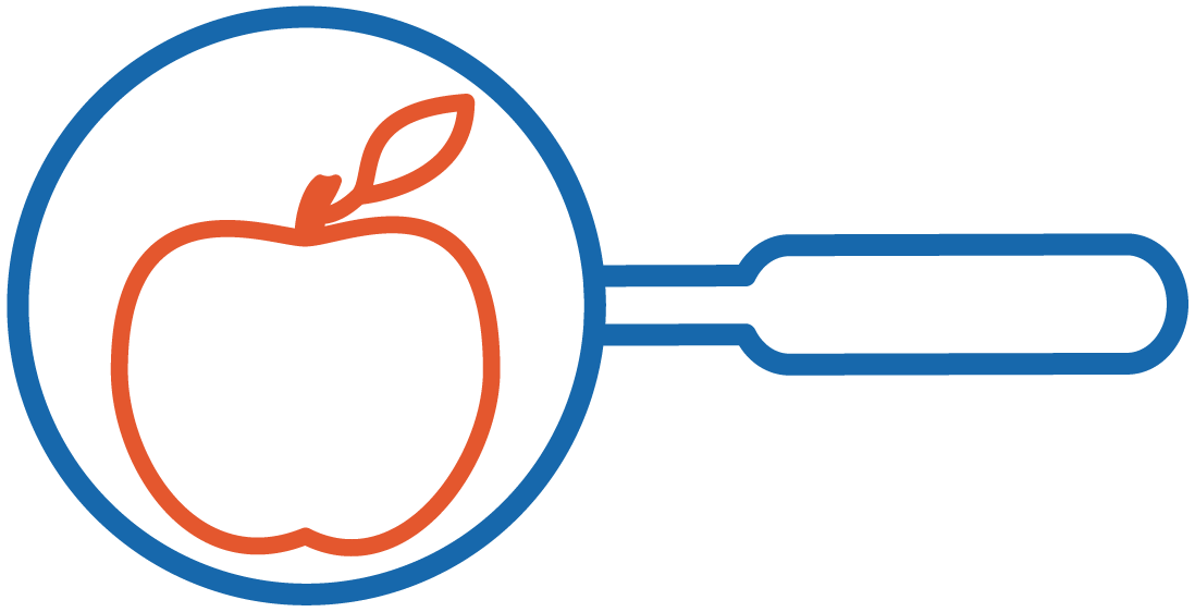 graphic of an apple in the middle of a magnifying glass to represent looking closer at tutoring services