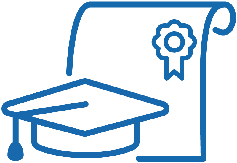 Graphic of a diploma and a graduation cap