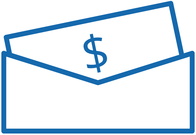 Icon image of a paycheck in an envelope