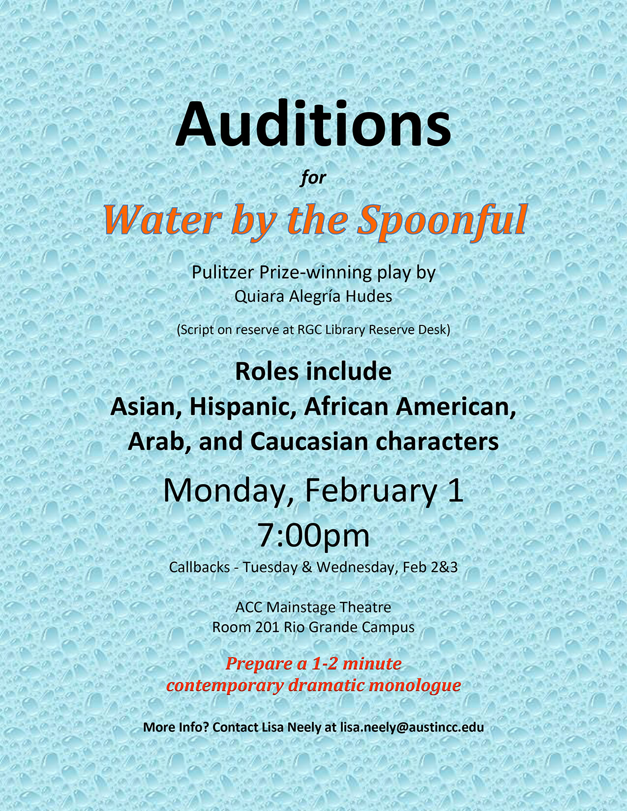Audition Notice Water-2