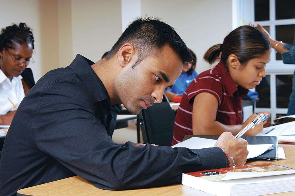 ESOL student working in class.