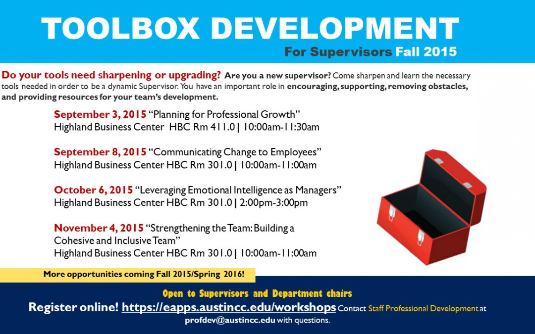 Toolbox Development for Supervisors – Fall 2015