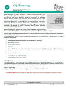 Surgical Technology Degree: Associate of Applied Science (AAS) Certificate: Level 2 (C2)