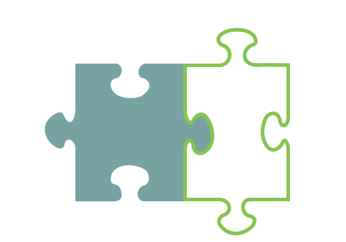 Private-Public Partnership Icon - Two puzzle pieces linked together
