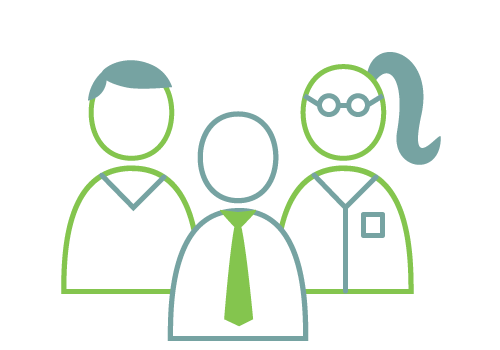 Staff Icon - Graphic a business man, and a male and female scientist