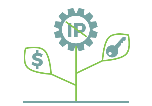 Startup Business Development - Icon of a mechanical flower with a dollar sign and a key