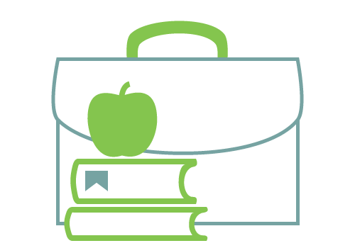 Workforce Education - Icon of apple on a stack of books in front of a briefcase