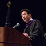 Victor Hwang delivers his commencement address