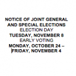 Notice of Joint General and Special Elections