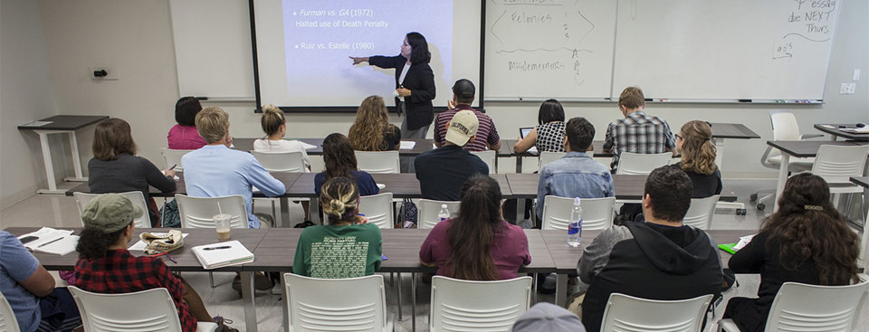 Professor of Government Lisa Perez, PhD, teaches a class on Civil Liberties at the Austin Community College Hays Campus on Thursday, April 20, 2017