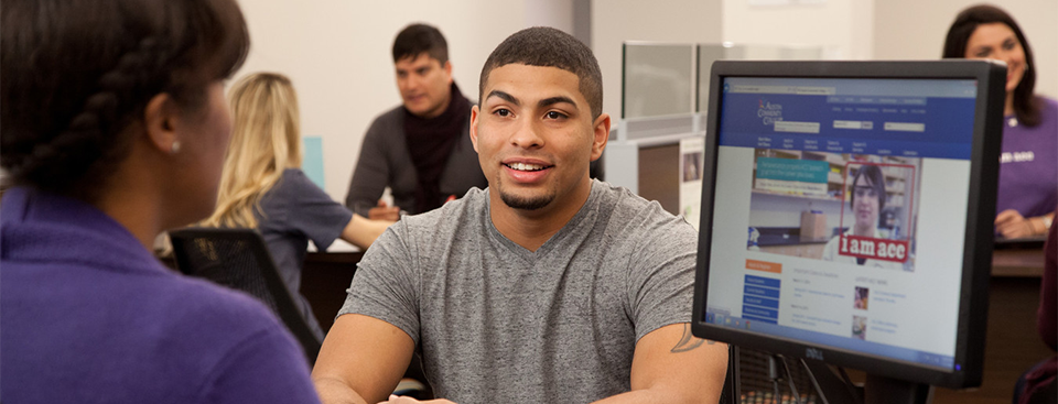 Student receives help with the admissions process