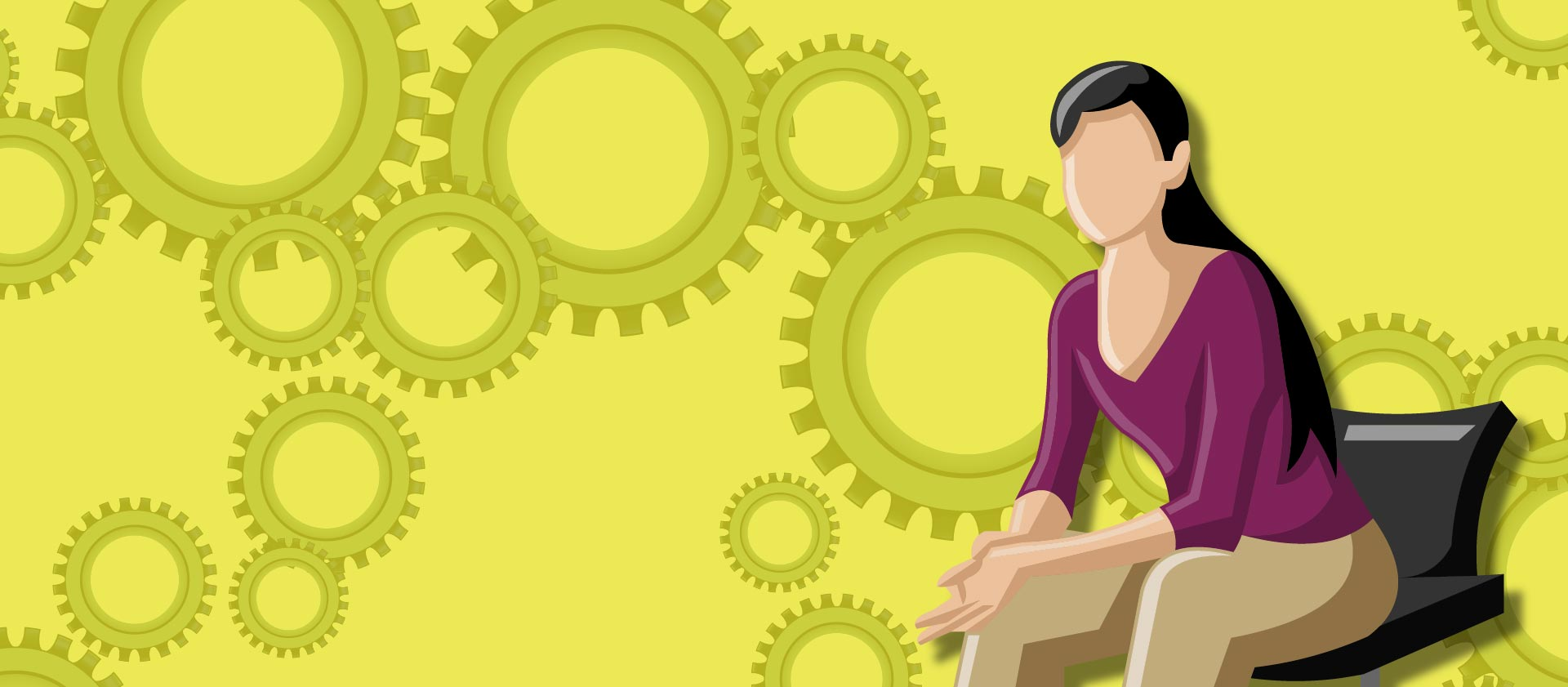 Graphic of IT woman sitting with gears in background
