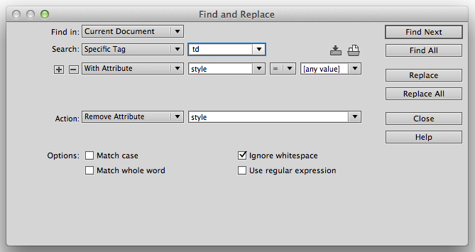 Dreamweaver's Find and Replace Specific Tag