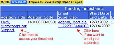 Timesheet Tab for Hourly and Classified Employees