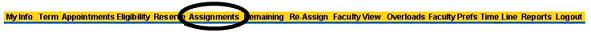 assignments menu within ACCeStaffing