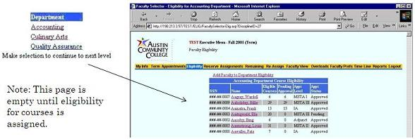 Department Selector page