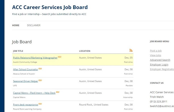 Student jobs posted by ACC Career Services